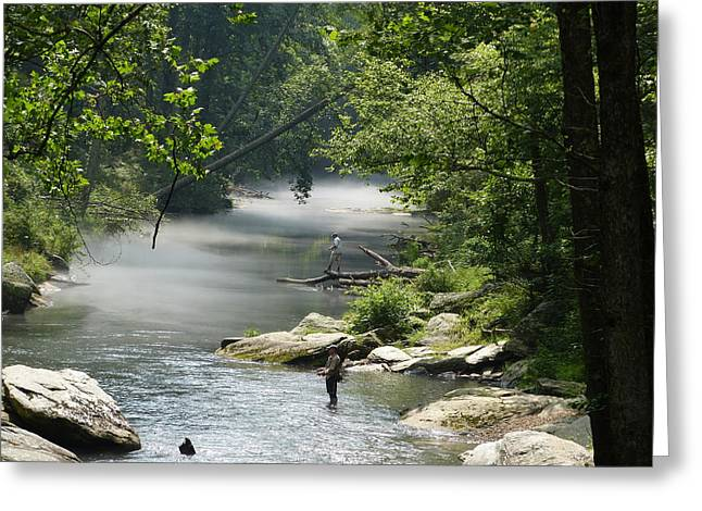 Fishing The Gunpowder Falls Greeting Card by Donald C Morgan
