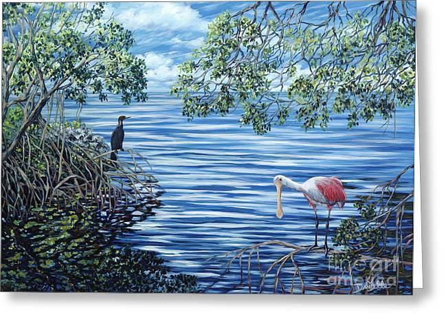 Wade Fishing Greeting Cards - Fishing the Mangroves Greeting Card by Danielle  Perry