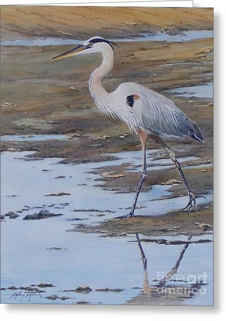 Fishing The Mud Flats...sold  Greeting Card