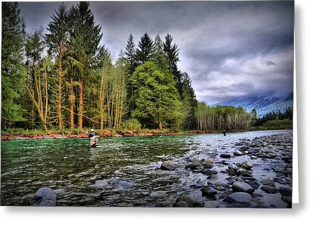 Fishing The Run Greeting Card