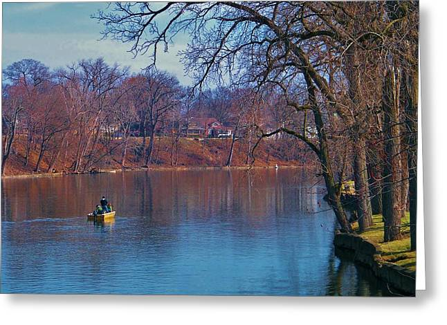 Fishing The Springtime River          Indiana Greeting Card by Rory Cubel