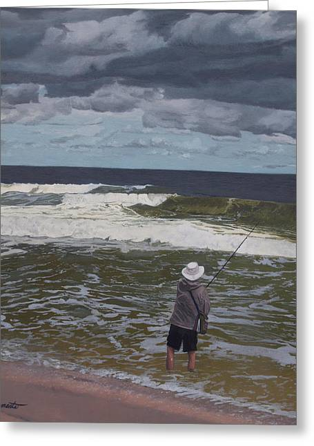 Fishing The Surf In Lavallette, New Jersey Greeting Card