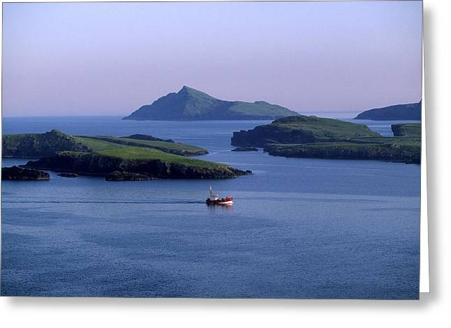 The Irish Image Collection Greeting Cards - Fishing Trawler, Blasket Islands, Co Greeting Card by The Irish Image Collection