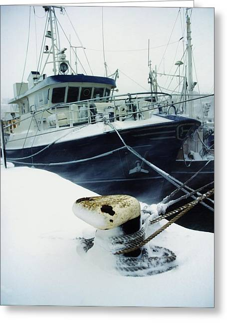 Docking Greeting Cards - Fishing Trawler, Howth Harbour, Co Greeting Card by The Irish Image Collection
