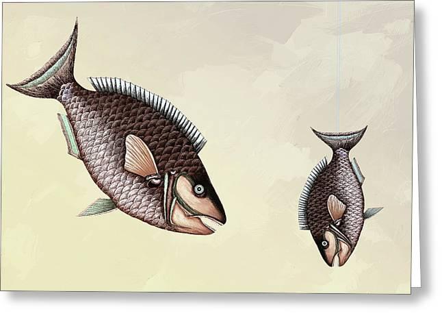 Fishing Trip Minimal Wall Art Sepia Greeting Card by Georgiana Romanovna