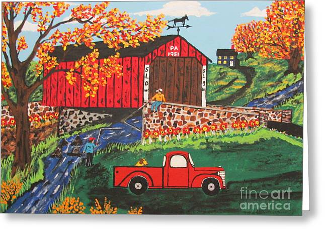 Greeting Card featuring the painting Fishing Under The  Covered Bridge by Jeffrey Koss