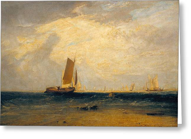 Fishing Upon The Blythe Sand Tide Setting In Greeting Card by Joseph Mallord William Turner