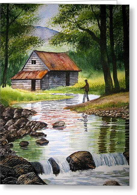 Fishing Upstream Greeting Card