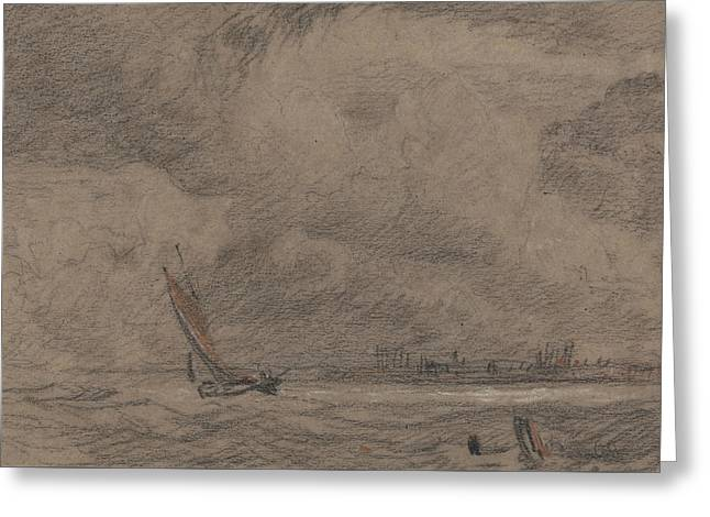 Fishing Vessel Off Yarmouth Greeting Card by John Sell Cotman