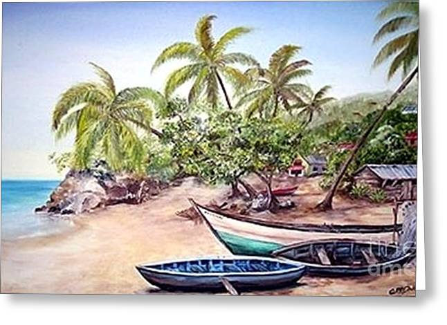 Greeting Card featuring the painting Fishing Village by Anna-maria Dickinson