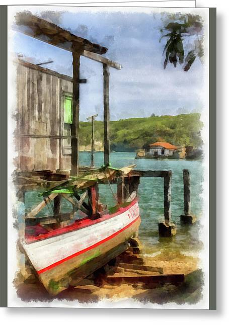 Fishing Village Greeting Card by Dawn Currie