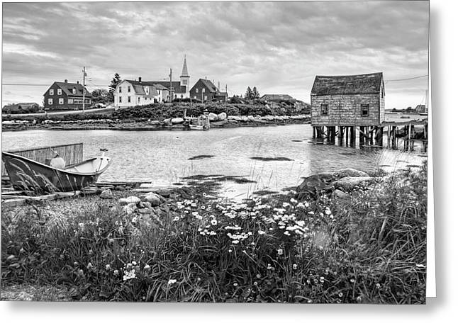 Fishing Village In Black And White - Nova Scotia Greeting Card by Nikolyn McDonald