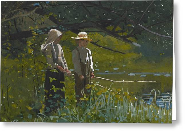 Fishing Greeting Card by Winslow Homer