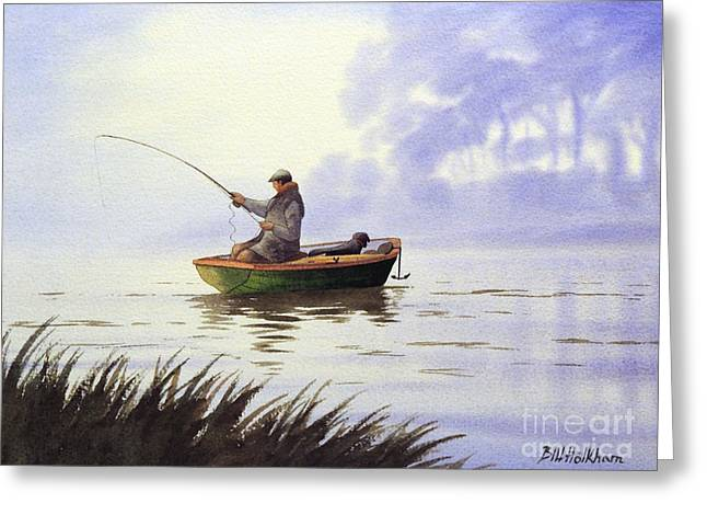 Fishing With A Loyal Friend Greeting Card