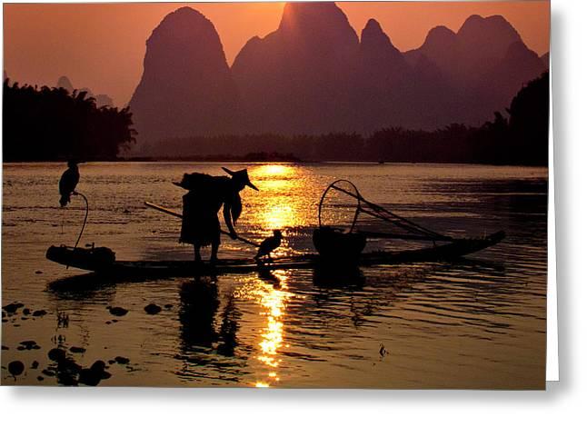 Fishing With Cormorants Greeting Card