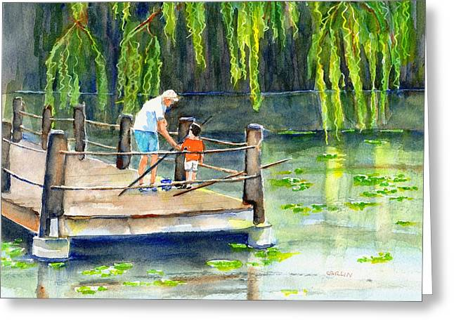 Greeting Card featuring the painting Fishing With Grandpa by Carlin Blahnik CarlinArtWatercolor
