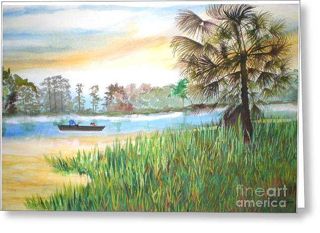 Fishing With My Son Greeting Card by Hal Newhouser
