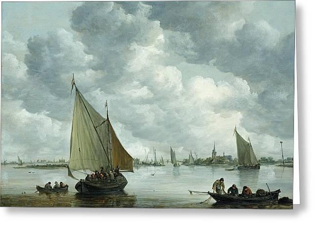 1656 Greeting Cards - Fishingboat in an Estuary Greeting Card by Jan Josephsz van Goyen