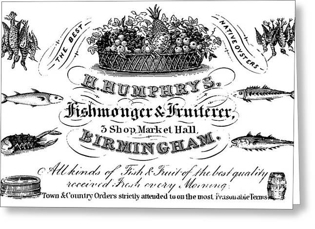 Fishmonger And Fruiterer, Trade Card Greeting Card