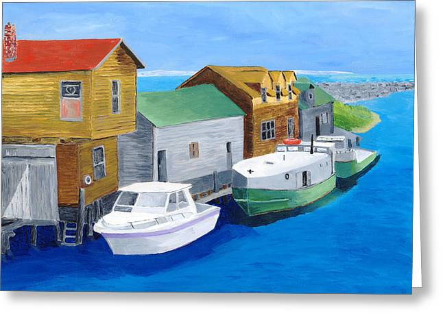 Greeting Card featuring the painting Fishtown by Rodney Campbell
