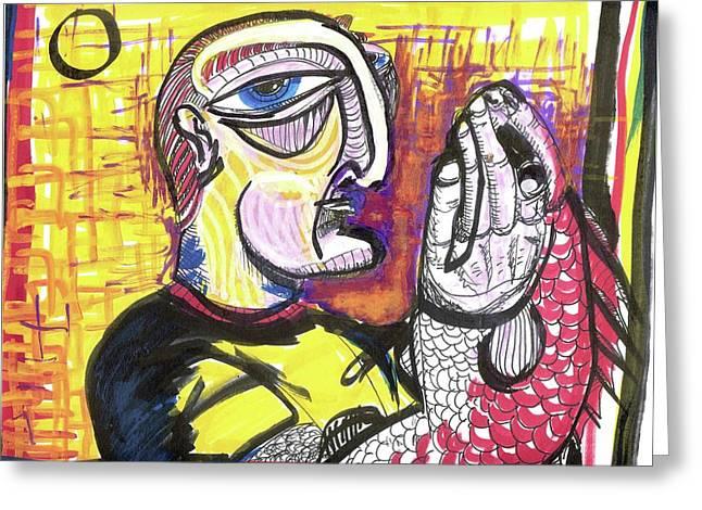 Fishy Hands Greeting Card by Robert Wolverton Jr