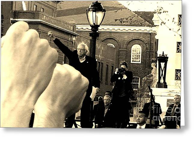 Fists Up, Bernie Sanders, New Haven, Ct Greeting Card
