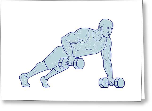 Fitness Athlete Push Up One Hand Dumbbell Drawing Greeting Card