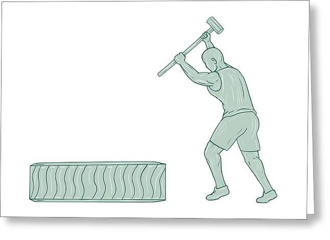 Fitness Athlete Sledge Hammer Striking Tire Drawing Greeting Card by Aloysius Patrimonio