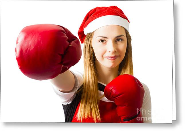 Fitness Holiday Christmas Girl. Boxing Day Greeting Card by Jorgo Photography - Wall Art Gallery