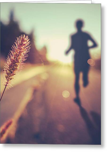 Fitness Training For Marathon At Sunset Greeting Card