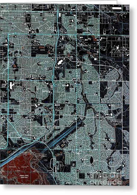 Fitzsimons Colorado 1965 Old Map Greeting Card by Pablo Franchi