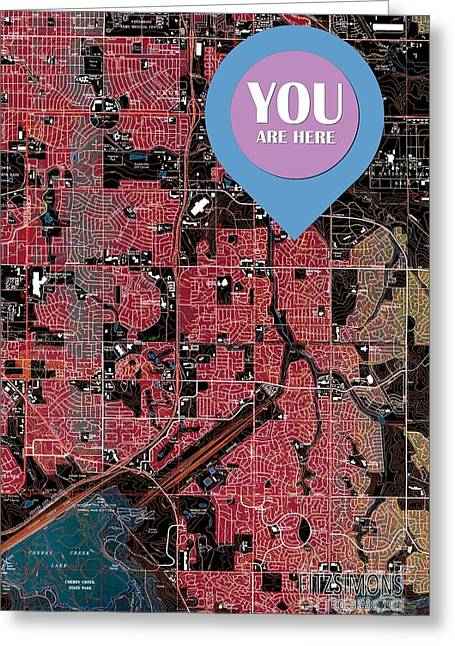 Fitzsimons Colorado 1965 Old Map You Are Here Greeting Card by Pablo Franchi