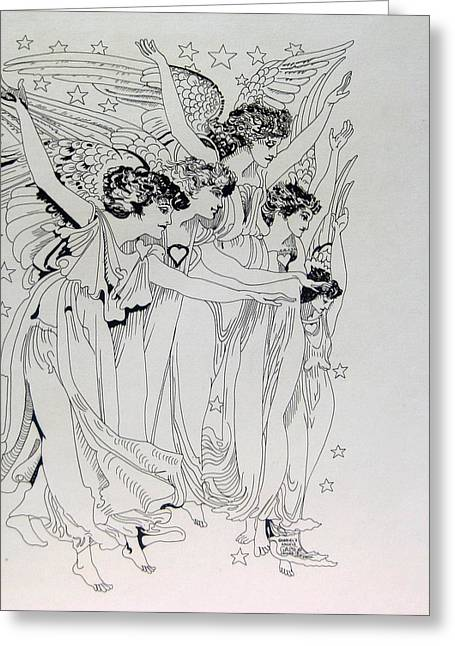 Five Angels Greeting Card by Gabe Art Inc