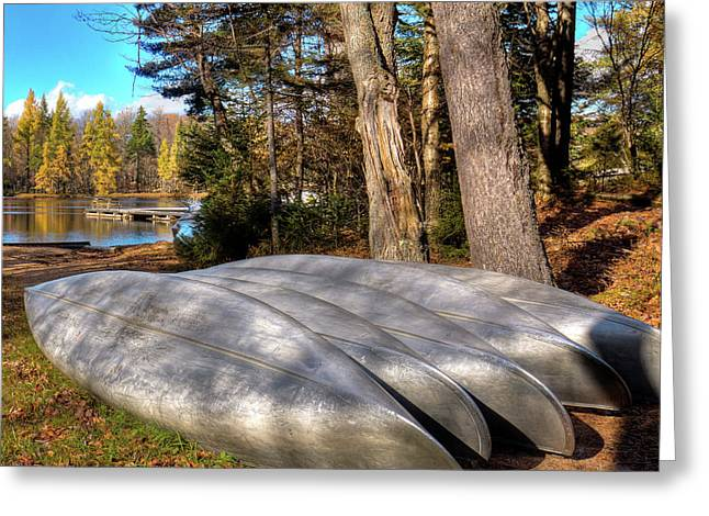 Greeting Card featuring the photograph Five Canoes At Woodcraft Camp by David Patterson