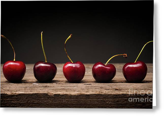 Five Cherries In A Row Greeting Card