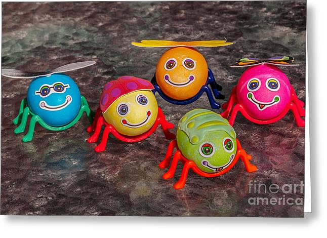 Five Easter Egg Bugs Greeting Card by Sue Smith