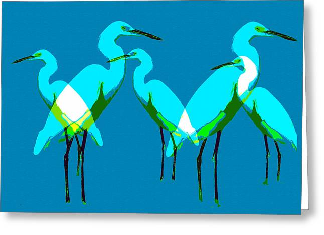 Greeting Card featuring the painting Five Egrets by David Lee Thompson