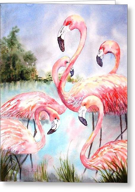Five Flamingos Greeting Card