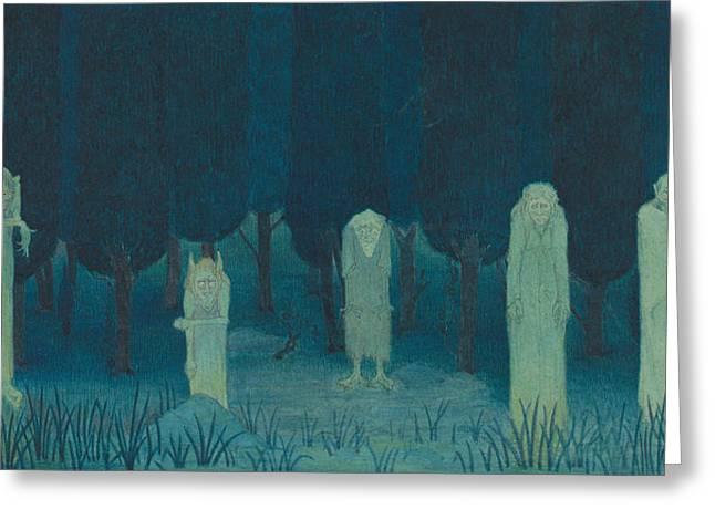 Five Ghouls Greeting Card by Herbert Crowley
