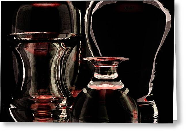 Glasses Reflecting Digital Greeting Cards - Five Glass Vases Full View Greeting Card by Peter J Sucy