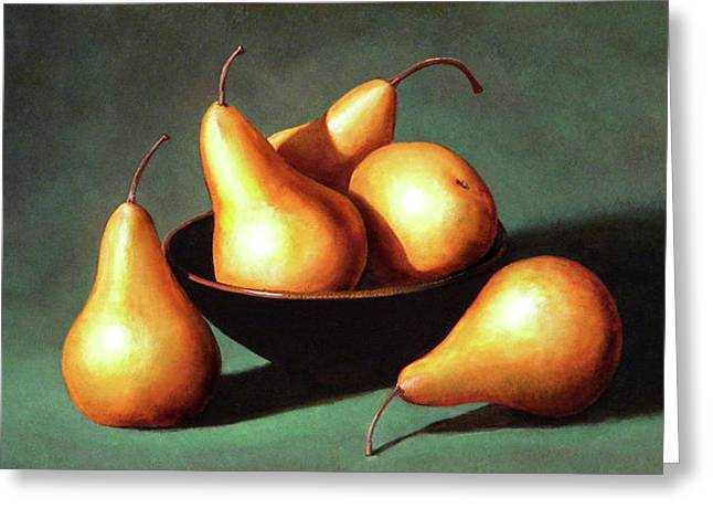 Five Golden Pears With Bowl Greeting Card