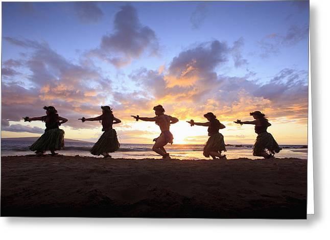 Recently Sold -  - Full Skirt Greeting Cards - Five Hula Dancers At Sunset At The Beach At Palauea Greeting Card by David Olsen