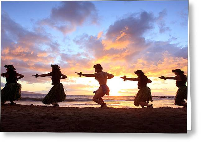 Five Hula Dancers At Sunset Greeting Card by David Olsen