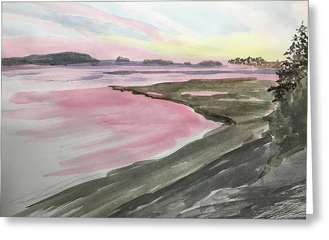 Greeting Card featuring the painting Five Islands - Watercolor Sketch  by Joel Deutsch