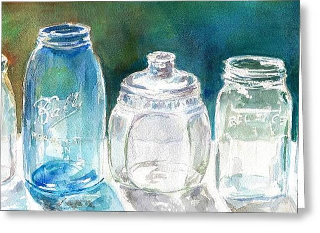 Five Jars In Window Greeting Card by Sukey Watson