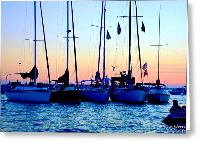 Five Little Sailboats Sitting In A Row Greeting Card