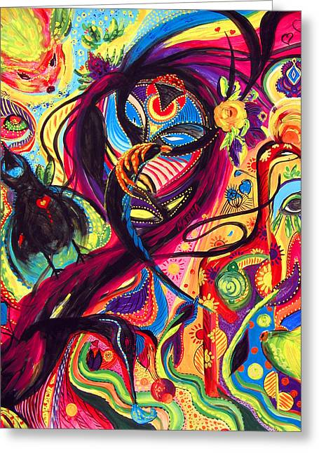 Greeting Card featuring the painting Raven Masquerade by Marina Petro