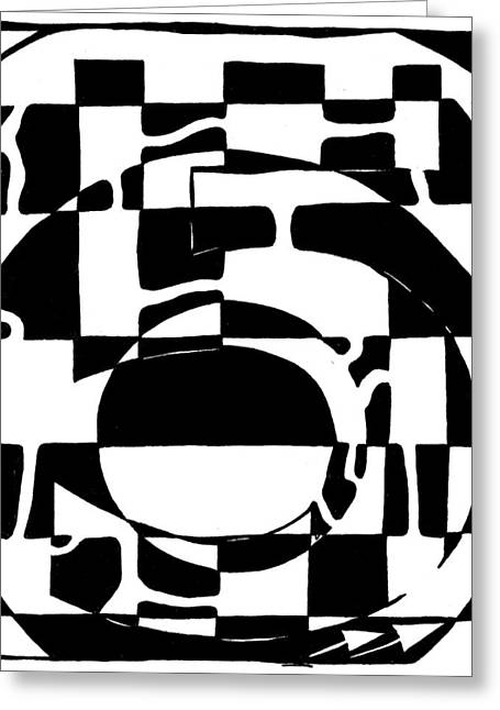 Five Maze Greeting Card by Yonatan Frimer Maze Artist