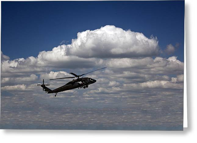 Uh-60 Greeting Cards - Five Miles High and Rising Greeting Card by Kevin  Sherf