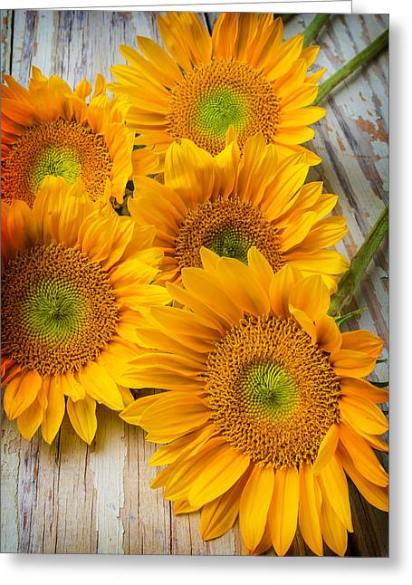 Five Moody Sunflowers Greeting Card